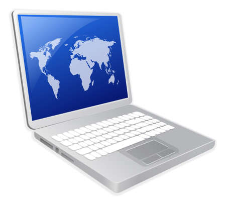 powerbook: Laptop with world map illustration Stock Photo