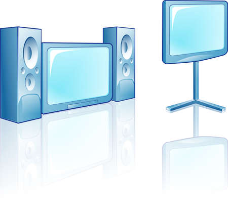 home theater: Plasma TV with Home Theater Stock Photo