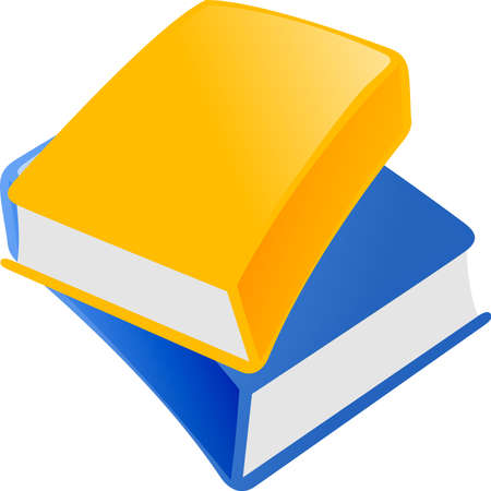 Illustration of  blue and yellow book on  white background