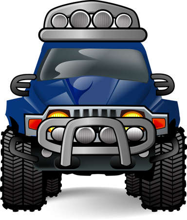 An off-road vehicle in white background Stock Photo
