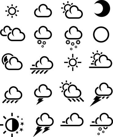 cloudy weather: Flat Weather Icon in black color Stock Photo