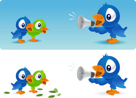 announcing: Bird announcing to babies with megaphone Stock Photo