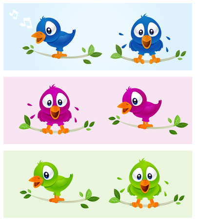 Bird Illustrations in various color Stock Illustration - 4431474