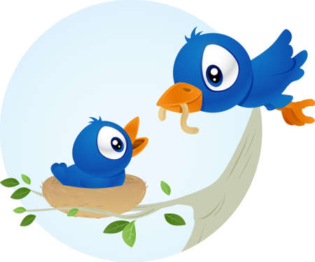 gusanos: Azul de alimentaci�n de aves j�venes beb� h