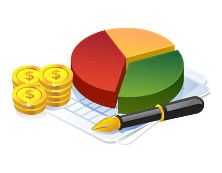 3D Illustration of Pie Chart, dollar coin and pen. Business and finance icon.