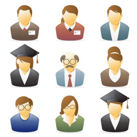 college professor: Icons collection representing various people`s occupations. set 1.