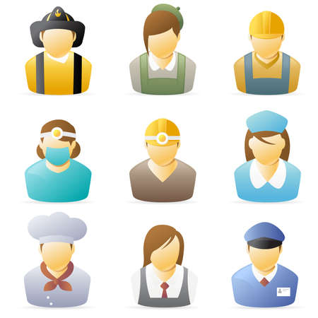 hardhat icon: Icons collection representing various people`s occupations. set 4.  Stock Photo