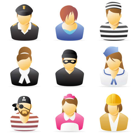 burglars: Icons collection representing various people`s occupations. set 5.  Stock Photo