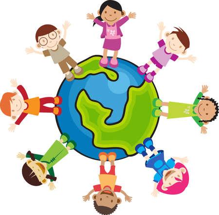 hand holding world: Children raising their hands standing around the world. peaceful.