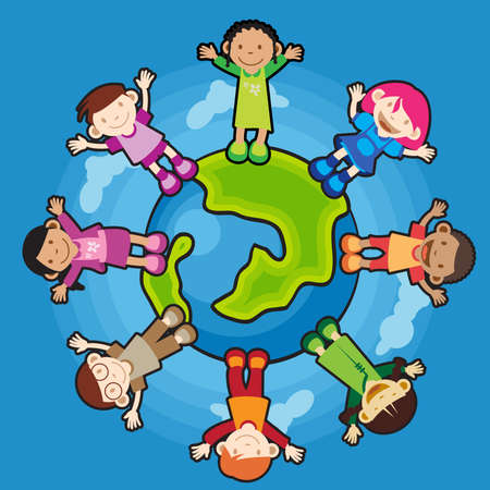 diverse group: Multi Culture Children raising their hands standing around the world. peaceful.