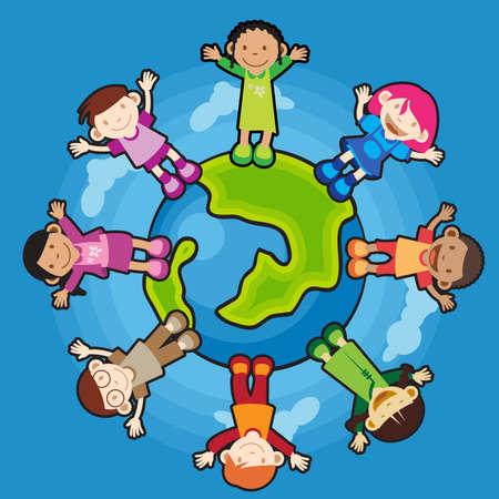 tolerance: Multi Culture Children raising their hands standing around the world. peaceful.
