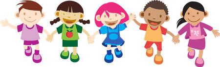 mani cartoon: Multi Cultura bambini che giocano le mani in mano. isolati su bianco