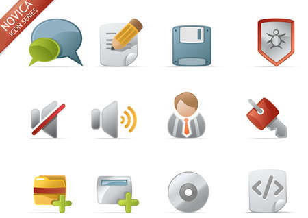 Web and Internet Icons for your website, internet, presentation and application project. web 2.0 style, clean and professional. see more icons in my portfolio.  - total 7 Set in Novica Icons Series Stock Photo - 4431440