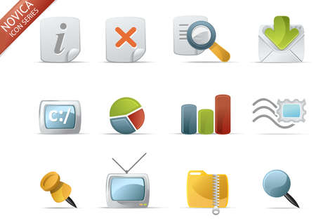 Web and Internet Icons for your website, internet, presentation and application project. web 2.0 style, clean and professional. see more icons in my portfolio.  - total 7 Set in Novica Icons Series Stock Photo - 4431443