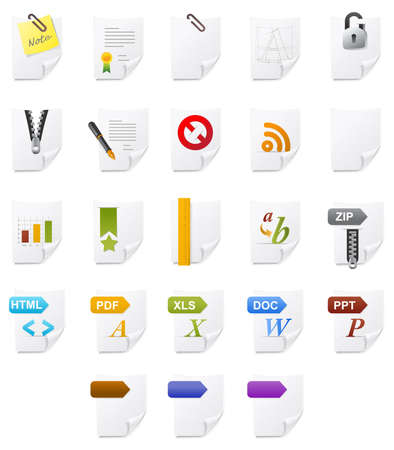 Various type of document icon. Stock Photo