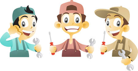 repairman: Repairmen in coveralls holding screwdriver and wrench