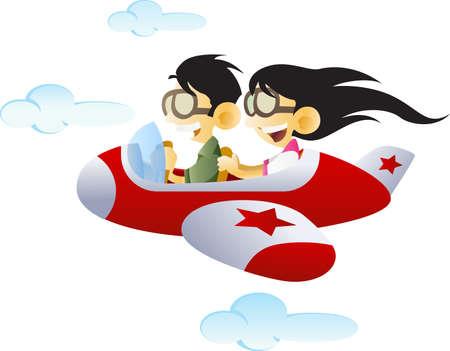 piloting: Two kids flies an airplane across the sky