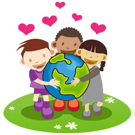 hand holding globe: Group of kids holding a globe.