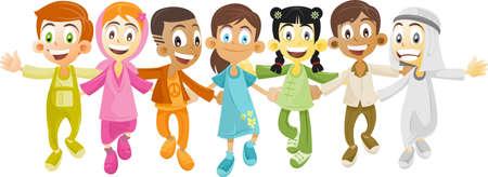 multi race: ni�os de diversos grupos �tnicos y el pa�s en manos de las manos.