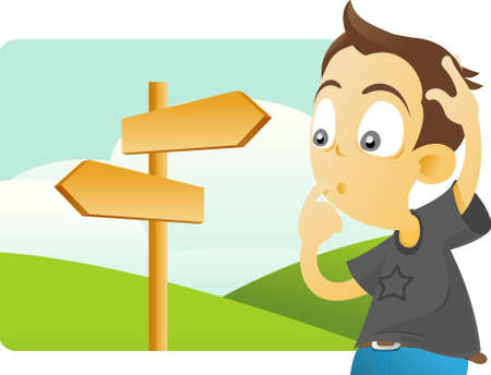 confusing: vector illustration of a boy standing confused next to directional signs.  Stock Photo