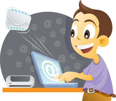 vector illustration of a boy sending email by a laptop. illustration