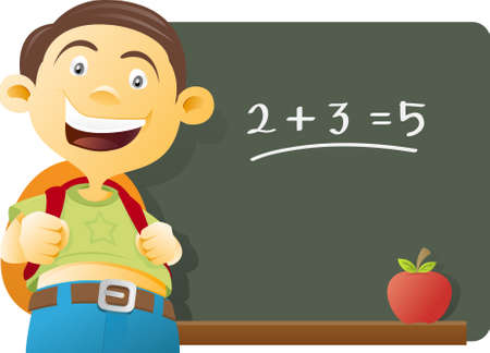 Vector illustration of a Boy in front of a class, chalkboard and apple in the background Stock Photo