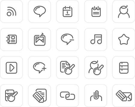 Internet and Blog icons - plain icon set (black) Stock Photo