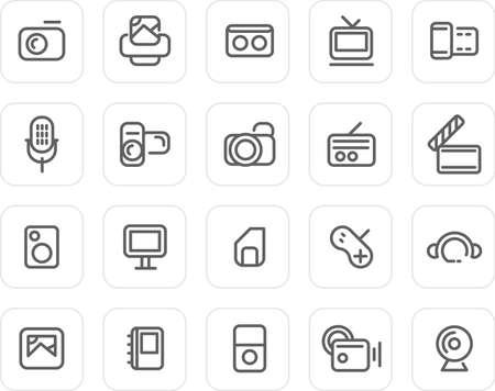Media icons - plain icon set (black) Stock Photo - 4468483