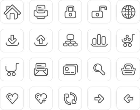 Website and Internet icons - plain icon set (black) Stock Photo