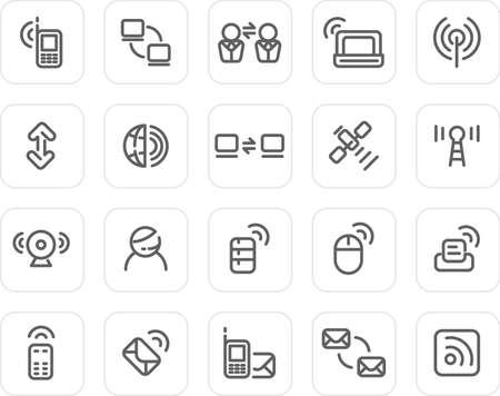 notebook icon: Tecnologia Wireless e icone - pianura icona set (nero) Archivio Fotografico