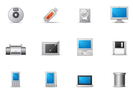 一般的に使用されるコンピューターとデバイスのアイコン