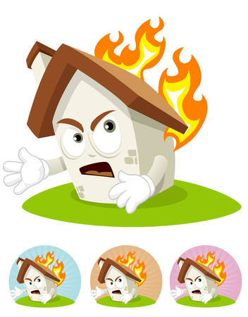 House cartoon character  illustration frightened seeing his part get burned by fire Illustration
