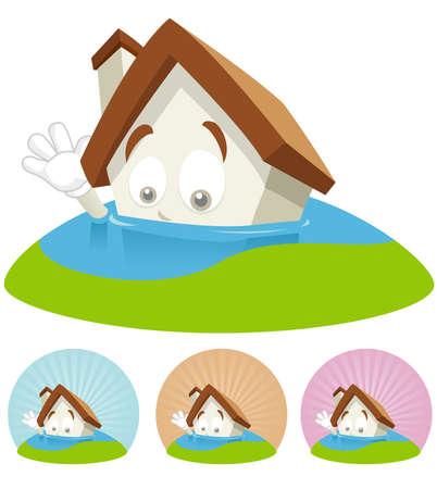 House cartoon character  illustration sinking through water Çizim