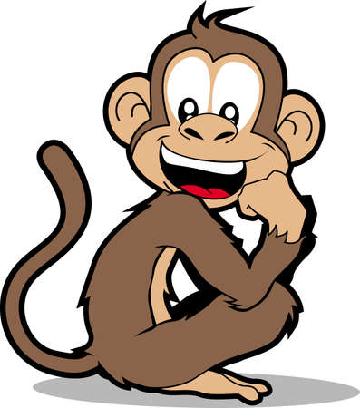 Cartoon illustration of a monkey smiling.