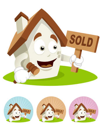 House cartoon character  illustration holding sold sign  board and gavel Illustration
