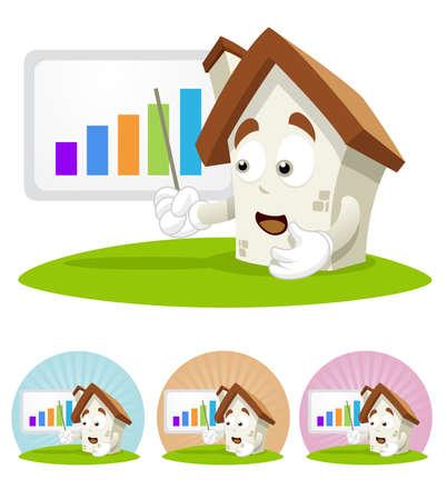 House cartoon character illustration showing a progressive bar chart. Vector Illustration