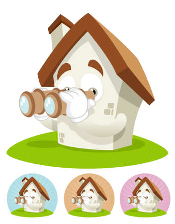 House cartoon character  illustration seeing through binocular