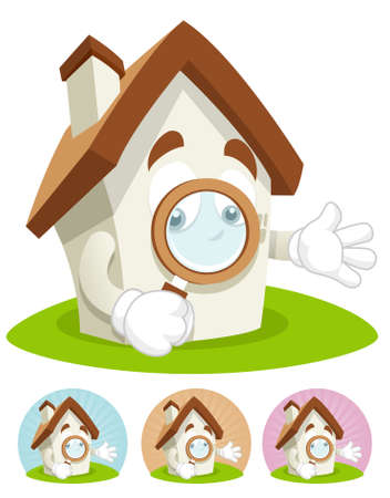 House cartoon character  illustration holding magnifying glass
