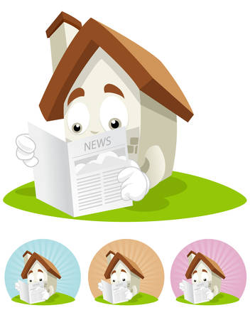 House cartoon character  illustration Reading a newspaper