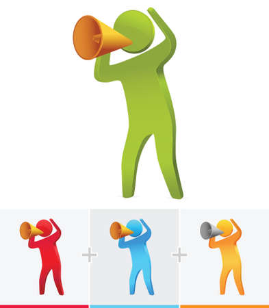 3d stick figure speaking out loud using megaphone