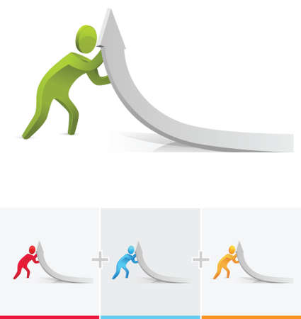 3d character pushing the arrow graph upward