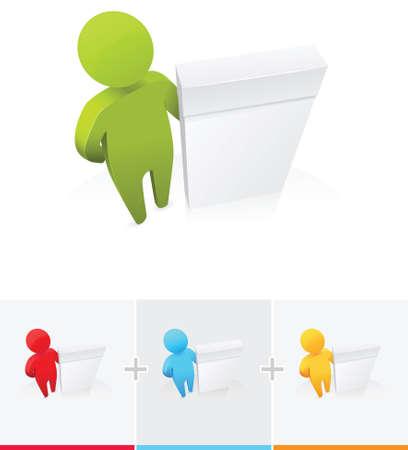 3D stick figure standing next to software box