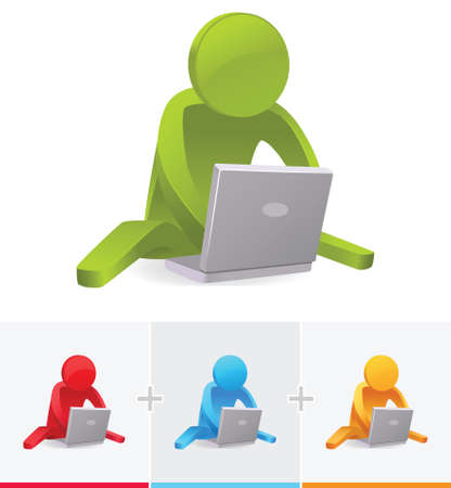 3D Stick Figure sitting on the floor while operating a notebook or laptop