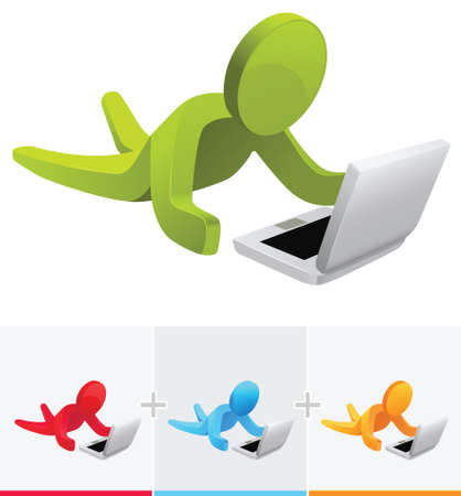 3D vector stick figure accessing internet through laptop