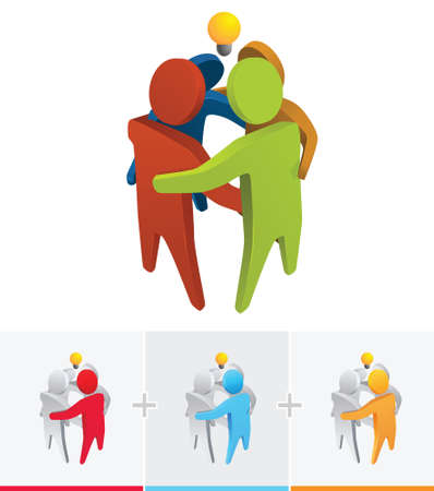 뭔가를 논의하기 위해 서로 가까이 서 3D 스틱 그림 그림