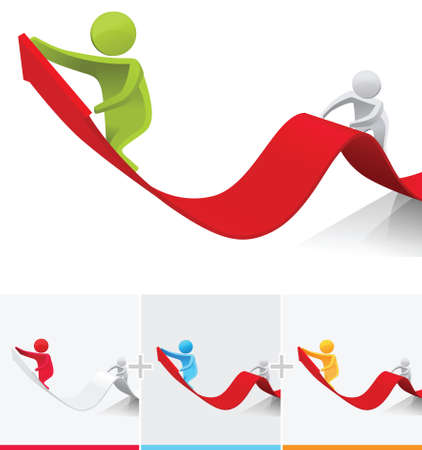 3D stick figures climbing to the top of arrow sign