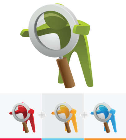 3d character illustration seeing through large  magnifying glass