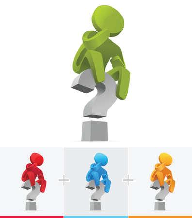 3D Stick Figure sitting on big question mark