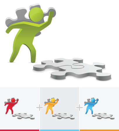 slog: 3D stick figure illustration putting together a puzzle pieces Illustration