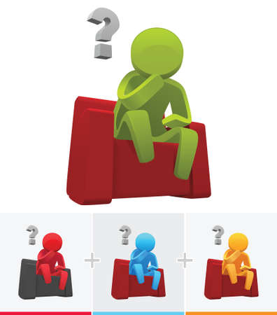 3D stick figure thinking and sitting on red sofa with question mark Illustration